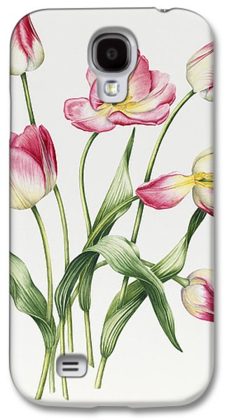 Botanical Galaxy S4 Cases - Pink Tulips Galaxy S4 Case by Sally Crosthwaite