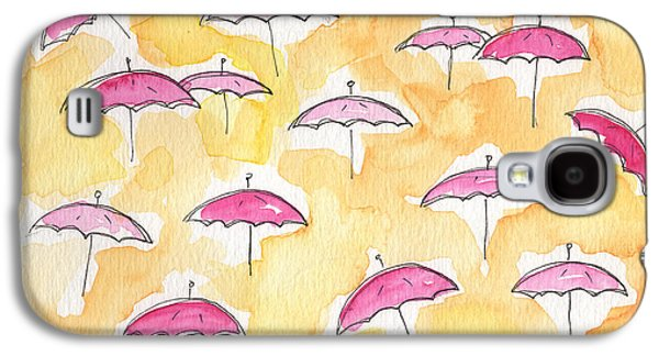 Sun Mixed Media Galaxy S4 Cases - Pink Umbrellas Galaxy S4 Case by Linda Woods