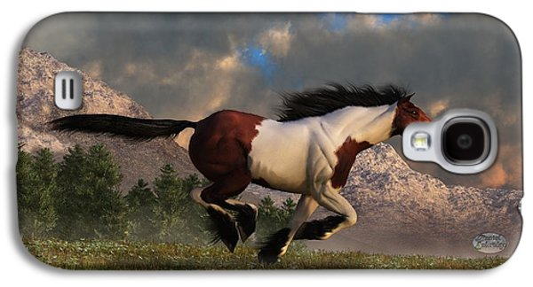 Plains Digital Art Galaxy S4 Cases - Pinto Mustang Galloping Galaxy S4 Case by Daniel Eskridge