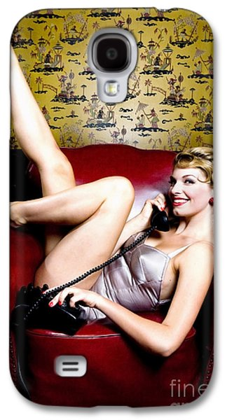 20s Galaxy S4 Cases - Pinup Girl on the Phone Galaxy S4 Case by Diane Diederich