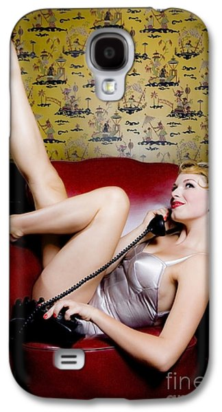 Updo Galaxy S4 Cases - Pinup girl with phone Galaxy S4 Case by Diane Diederich