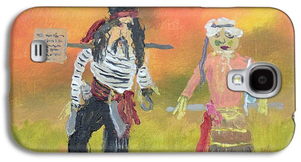 Nature Center Paintings Galaxy S4 Cases - Pirate Scarecrow at October Fest Galaxy S4 Case by Robert P Hedden