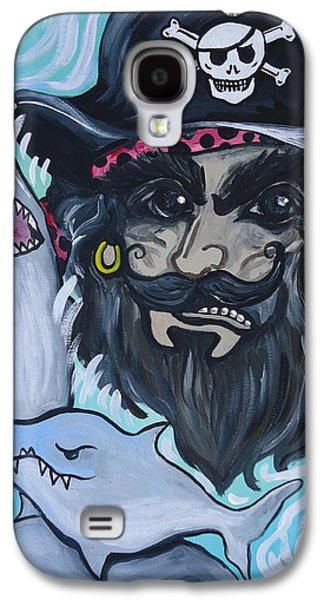 Animation Paintings Galaxy S4 Cases - Pirate Shark Tank Galaxy S4 Case by Leslie Manley