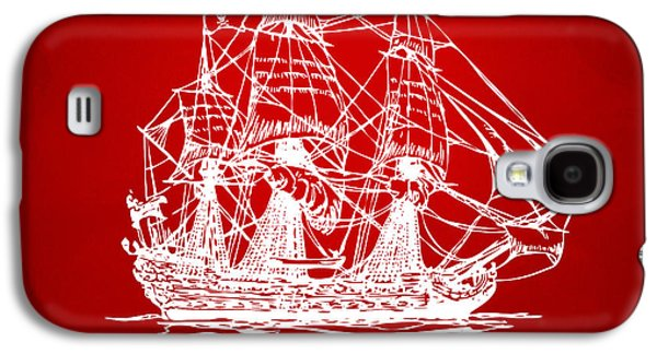 Pirate Ships Galaxy S4 Cases - Pirate Ship Artwork - Red Galaxy S4 Case by Nikki Marie Smith