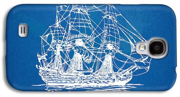 Pirate Ships Galaxy S4 Cases - Pirate Ship Blueprint Artwork Galaxy S4 Case by Nikki Marie Smith