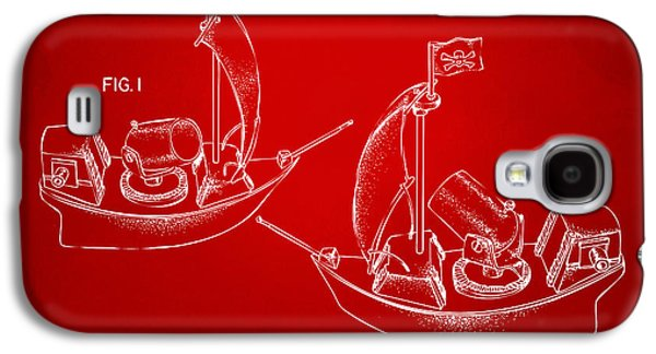 Pirate Ships Galaxy S4 Cases - Pirate Ship Patent Artwork - Red Galaxy S4 Case by Nikki Marie Smith