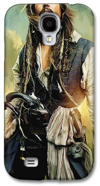 Pirates Of The Caribbean Johnny Depp Artwork 1 Galaxy S4 Case by Sheraz A