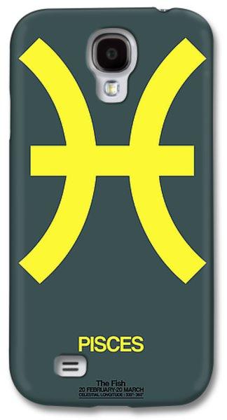 Virgo Galaxy S4 Cases - Pisces Zodiac Sign Yellow Galaxy S4 Case by Naxart Studio