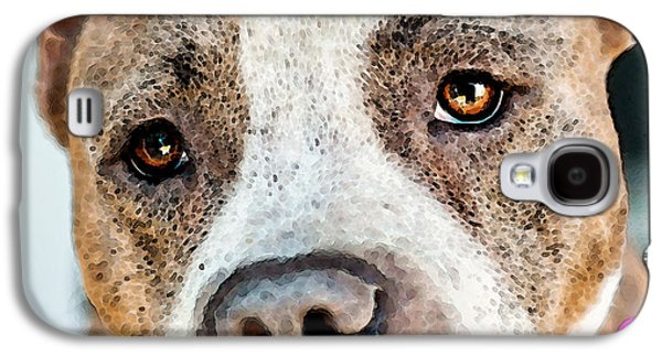 Animal Lover Digital Art Galaxy S4 Cases - Pit Bull Dog - Pure Love Galaxy S4 Case by Sharon Cummings