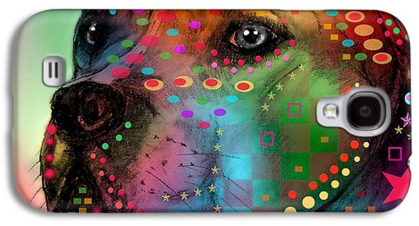 Best Sellers -  - Puppy Digital Art Galaxy S4 Cases - Pit Bull Galaxy S4 Case by Mark Ashkenazi