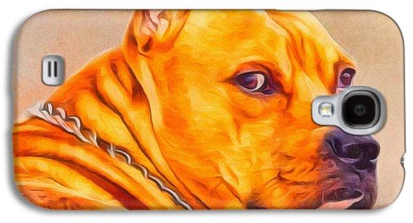 Puppies Digital Art Galaxy S4 Cases - Pit Bull Portrait  Galaxy S4 Case by Scott Wallace
