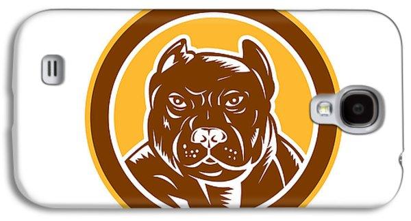 Pitbull Dog Mongrel Head Circle Woodcut Galaxy S4 Case by Aloysius Patrimonio