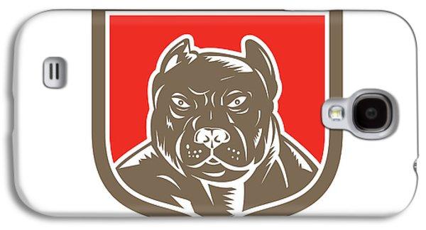 Pitbull Dog Mongrel Head Shield Woodcut Galaxy S4 Case by Aloysius Patrimonio