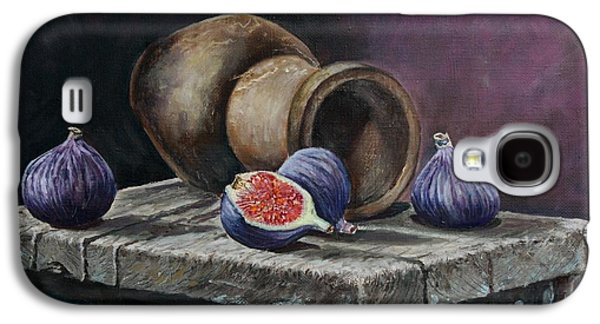 Old Pitcher Paintings Galaxy S4 Cases - Pitcher and figs Galaxy S4 Case by Vita Schagen