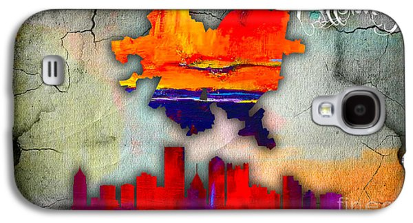 Old Galaxy S4 Cases - Pittsburgh Map and Skyline Watercolor Galaxy S4 Case by Marvin Blaine