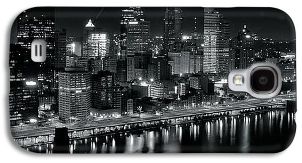Pennsylvania Baseball Parks Galaxy S4 Cases - Pittsburgh Panorama in Black and White Galaxy S4 Case by Frozen in Time Fine Art Photography