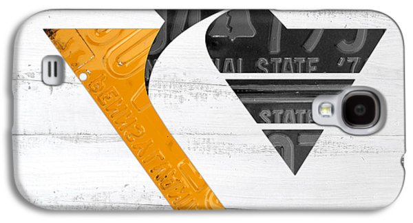 Pittsburgh Galaxy S4 Cases - Pittsburgh Penguins Hockey Team Retro Logo Vintage Recycled Pennsylvania License Plate Art Galaxy S4 Case by Design Turnpike