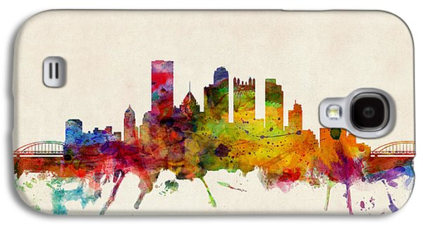 Poster Galaxy S4 Cases - Pittsburgh Pennsylvania Skyline Galaxy S4 Case by Michael Tompsett
