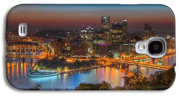 Roberto Clemente Galaxy S4 Cases - Pittsburgh Skyline Morning Twilight I Galaxy S4 Case by Clarence Holmes