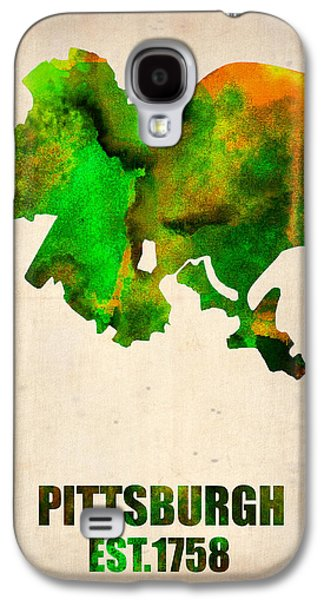 Pittsburgh Galaxy S4 Cases - Pittsburgh Watercolor Map Galaxy S4 Case by Naxart Studio
