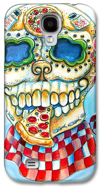 Pepper Paintings Galaxy S4 Cases - Pizza Sugar Skull Galaxy S4 Case by Heather Calderon