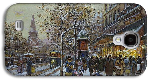 Winter Road Scenes Galaxy S4 Cases - Place de la Republique Paris Galaxy S4 Case by Eugene Galien-Laloue
