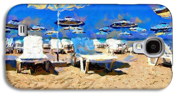 Empty Chairs Paintings Galaxy S4 Cases - Place for summer leisure painting Galaxy S4 Case by Magomed Magomedagaev