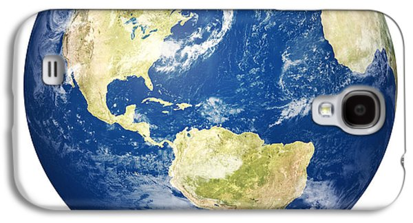 Planet Earth On White - America Galaxy S4 Case by Johan Swanepoel