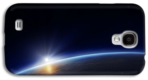 Halo Galaxy S4 Cases - Planet earth with rising sun Galaxy S4 Case by Johan Swanepoel