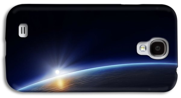 Atmosphere Photographs Galaxy S4 Cases - Planet earth with rising sun Galaxy S4 Case by Johan Swanepoel
