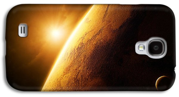 Misty Galaxy S4 Cases - Planet Mars close-up with sunrise Galaxy S4 Case by Johan Swanepoel