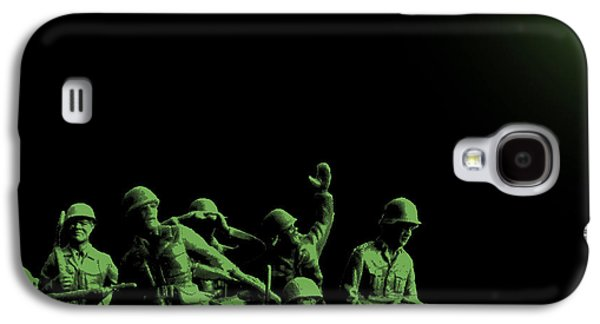 Satire Mixed Media Galaxy S4 Cases - Plastic Army Man Battalion Black and Green Galaxy S4 Case by Tony Rubino