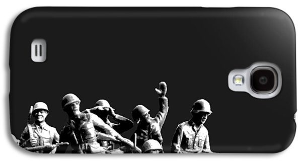 Satire Mixed Media Galaxy S4 Cases - Plastic Army Man Battalion Black and White Galaxy S4 Case by Tony Rubino