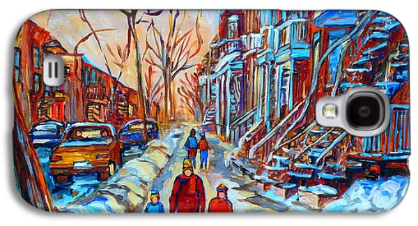 Montreal Neighborhoods Paintings Galaxy S4 Cases - Plateau Montreal Street Scene Galaxy S4 Case by Carole Spandau