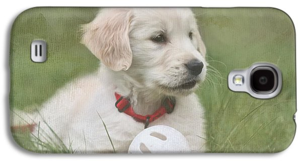Puppies Digital Galaxy S4 Cases - Play Ball Galaxy S4 Case by Jayne Carney
