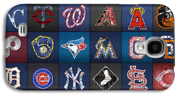 Play Ball Recycled Vintage Baseball Team Logo License Plate Art Galaxy S4 Case by Design Turnpike