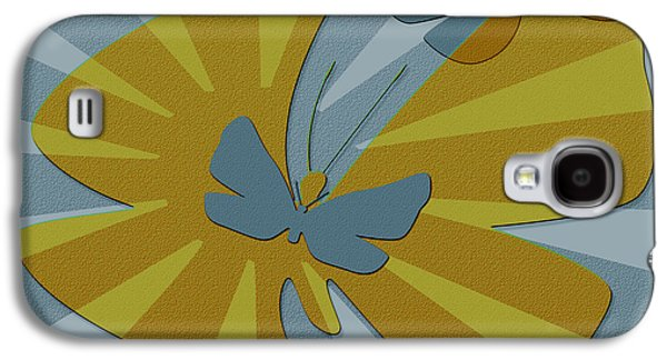 Ben Gertsberg Digital Art Galaxy S4 Cases - Playful Butterflies In Blue And Yellow Galaxy S4 Case by Ben and Raisa Gertsberg