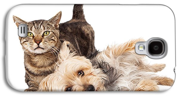 Friends Photographs Galaxy S4 Cases - Playful Dog and Cat Laying Together Galaxy S4 Case by Susan  Schmitz
