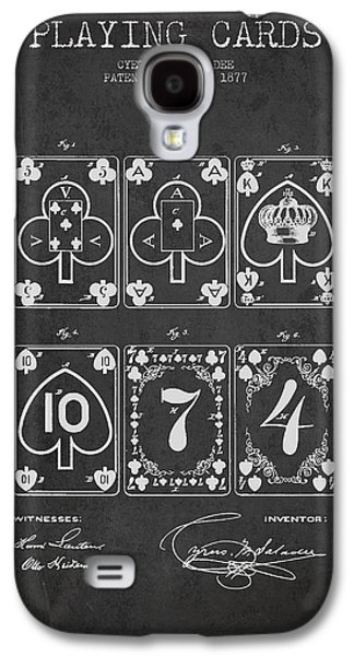 Playing Cards  Patent Drawing From 1877 - Dark Galaxy S4 Case by Aged Pixel
