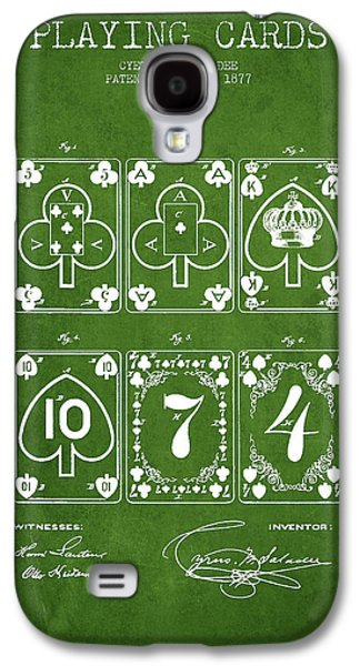 Card Digital Art Galaxy S4 Cases - Playing Cards  Patent Drawing From 1877 - Green Galaxy S4 Case by Aged Pixel