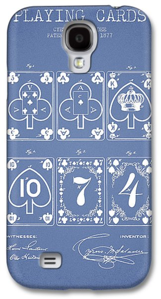 Card Digital Art Galaxy S4 Cases - Playing Cards  Patent Drawing From 1877 - Light Blue Galaxy S4 Case by Aged Pixel
