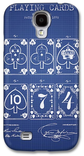 Card Digital Art Galaxy S4 Cases - Playing Cards  Patent From 1877 - Blueprint Galaxy S4 Case by Aged Pixel
