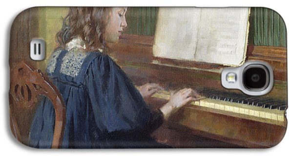 Playing Paintings Galaxy S4 Cases - Playing the Piano Galaxy S4 Case by Ernest Higgins Rigg