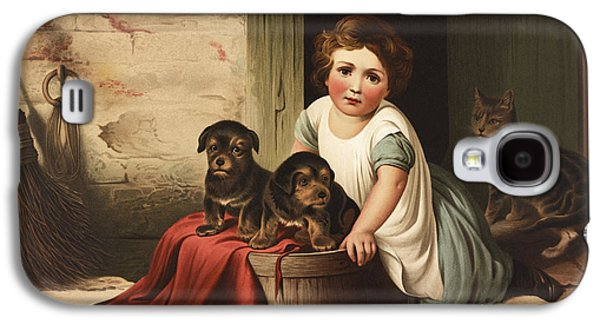 Cute Puppy Galaxy S4 Cases - Playing with friends circa 1850 Galaxy S4 Case by Aged Pixel