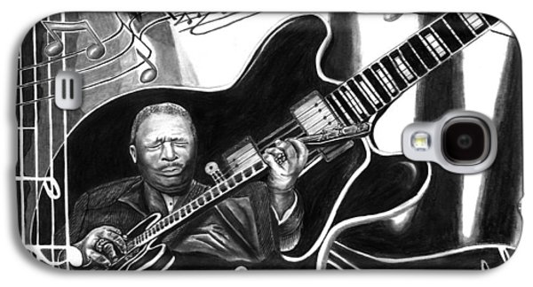 Playing Drawings Galaxy S4 Cases - Playing with Lucille - BB King Galaxy S4 Case by Peter Piatt
