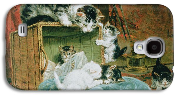 Posters On Paintings Galaxy S4 Cases - Playtime Galaxy S4 Case by Henriette Ronner-Knip