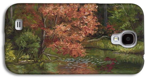 Plein Air Galaxy S4 Cases - Plein Air - Red Tree Galaxy S4 Case by Lucie Bilodeau