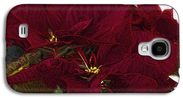 Star Of Bethlehem Galaxy S4 Cases - Poinsettia 3 Digital Painting on Canvas 2 Galaxy S4 Case by Sharon  Talson
