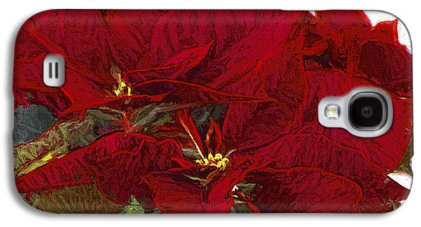 Star Of Bethlehem Galaxy S4 Cases - Poinsettia 3 Digital Painting on Canvas 2A Galaxy S4 Case by Sharon  Talson