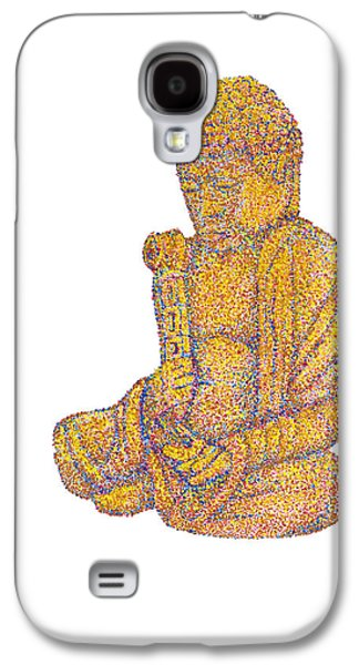 Pointillist Paintings Galaxy S4 Cases - Pointillist Buddha Galaxy S4 Case by Jeffrey Woodley